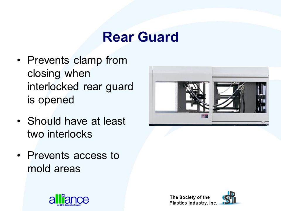 Rear Guard Prevents clamp from closing when interlocked rear guard is opened. Should have at least two interlocks.