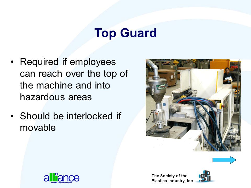Top Guard Required if employees can reach over the top of the machine and into hazardous areas. Should be interlocked if movable.