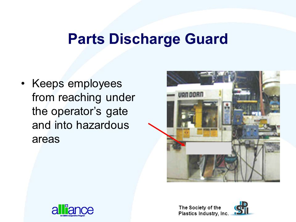 Parts Discharge Guard Keeps employees from reaching under the operator's gate and into hazardous areas.