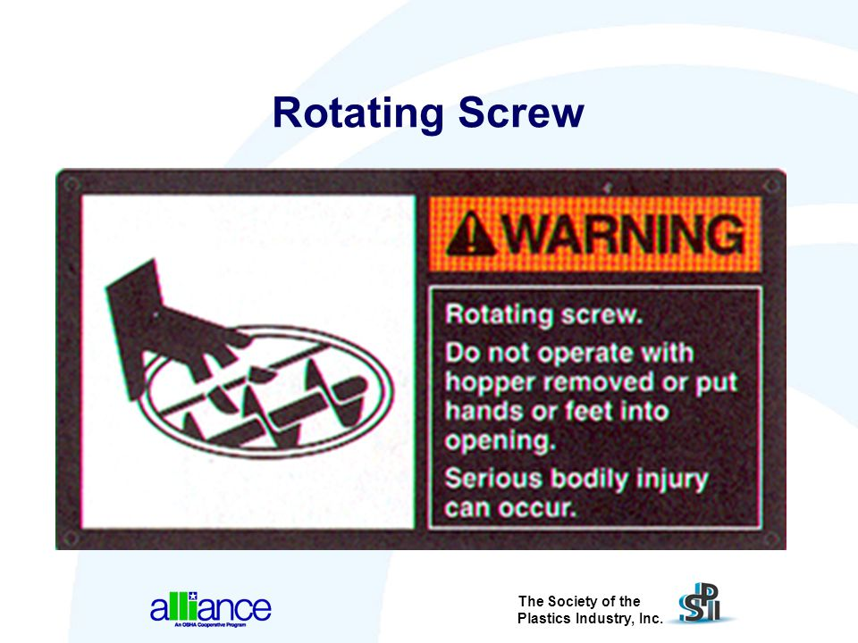 Rotating Screw Graphics can give examples of the part that is most likely to receive an injury from the hazard.