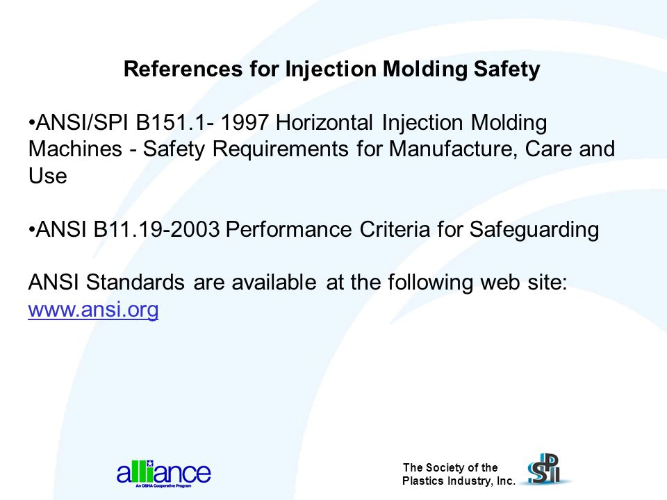 References for Injection Molding Safety