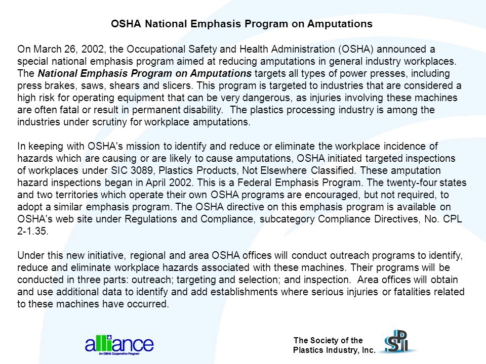 OSHA National Emphasis Program on Amputations