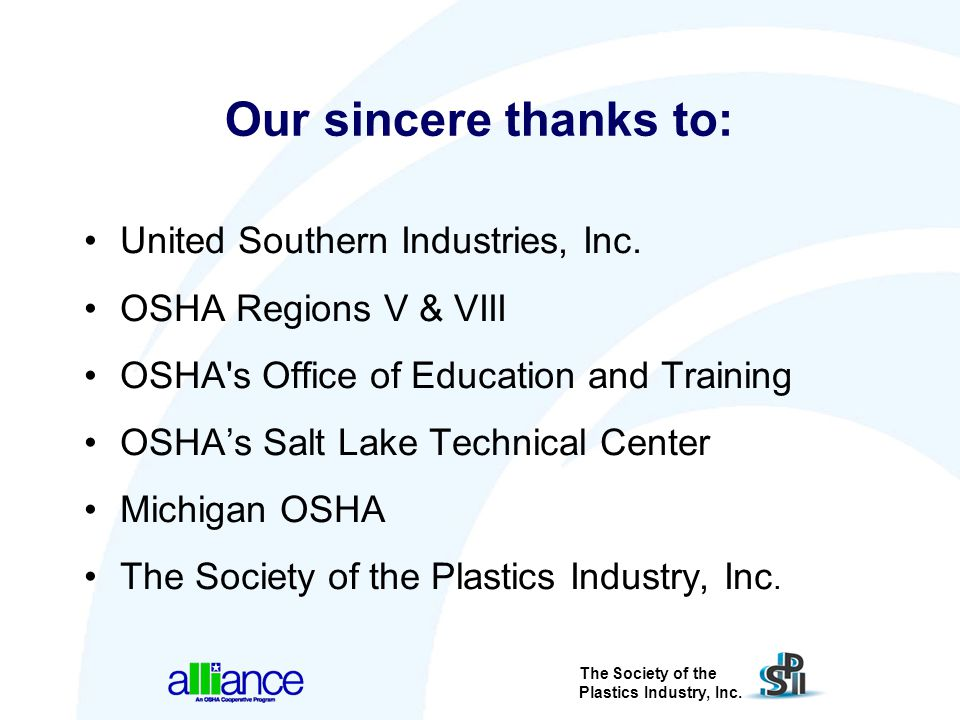 Our sincere thanks to: United Southern Industries, Inc.