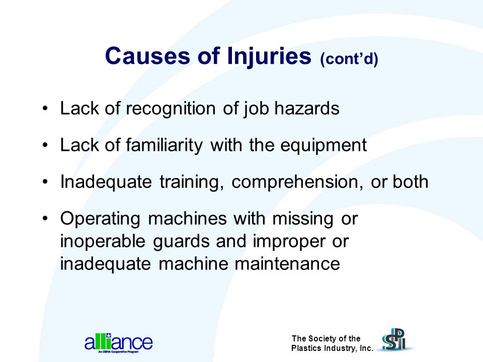 Causes of Injuries (cont'd)