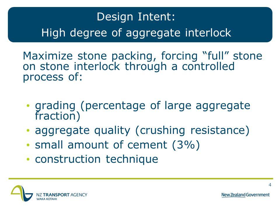 Design Intent: High degree of aggregate interlock