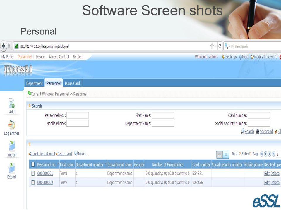 Software Screen shots Personal