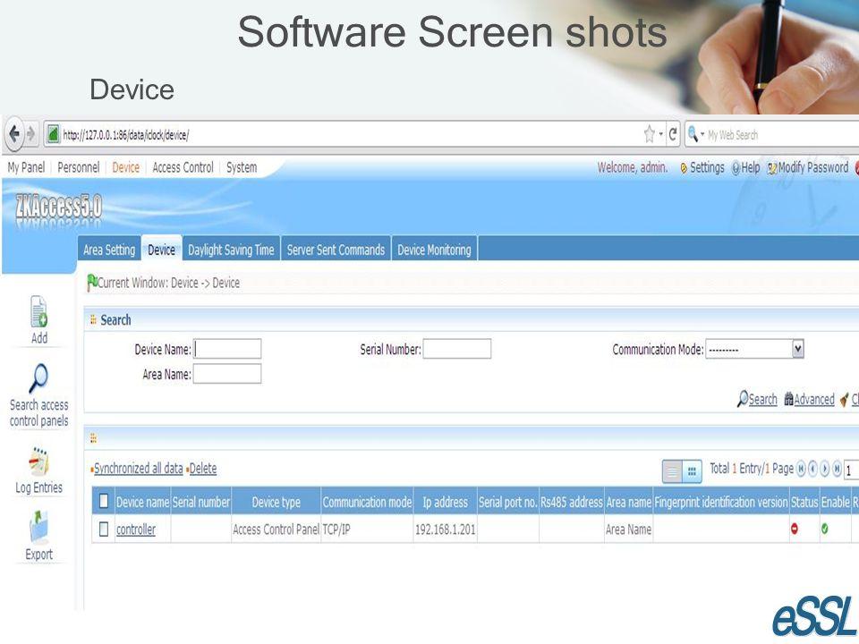 Software Screen shots Device