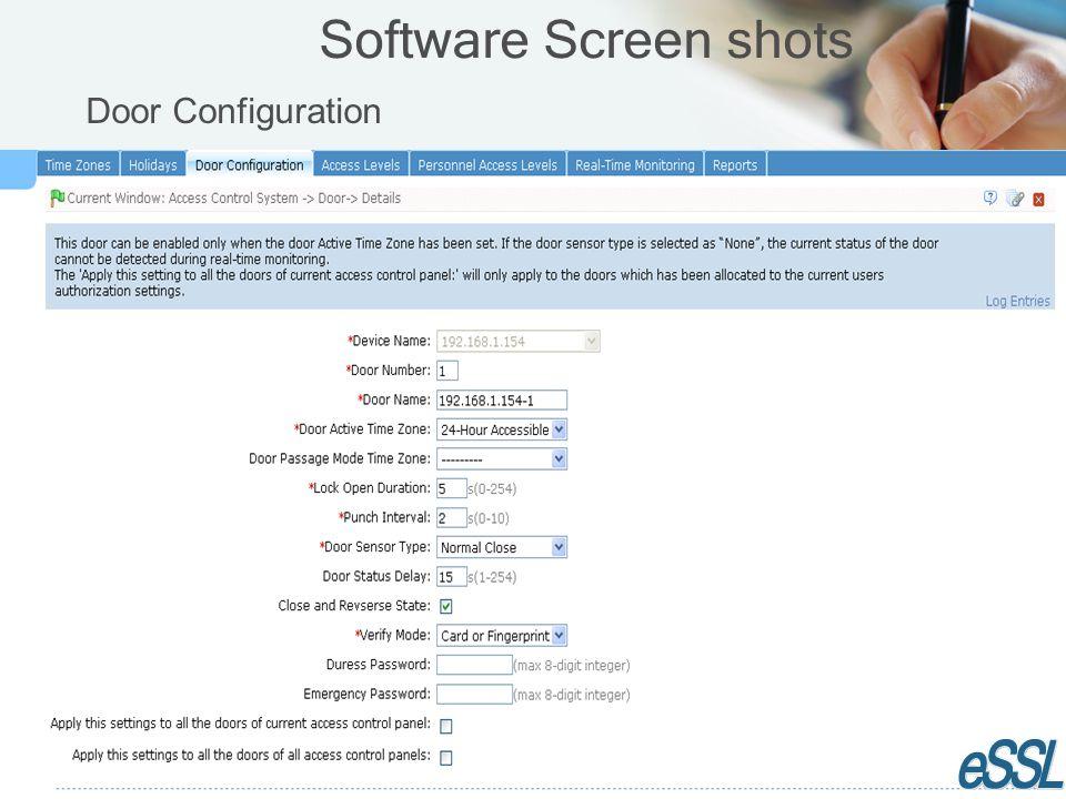 Software Screen shots Door Configuration