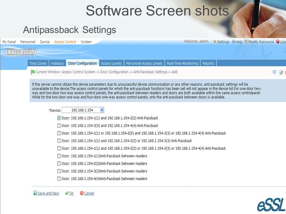 Software Screen shots Antipassback Settings