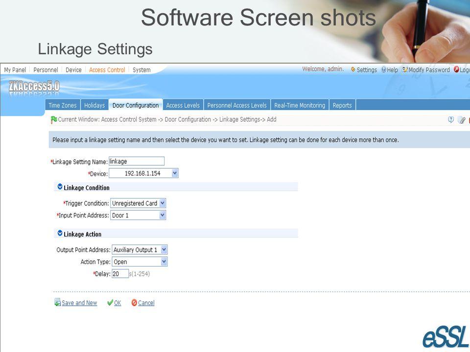 Software Screen shots Linkage Settings