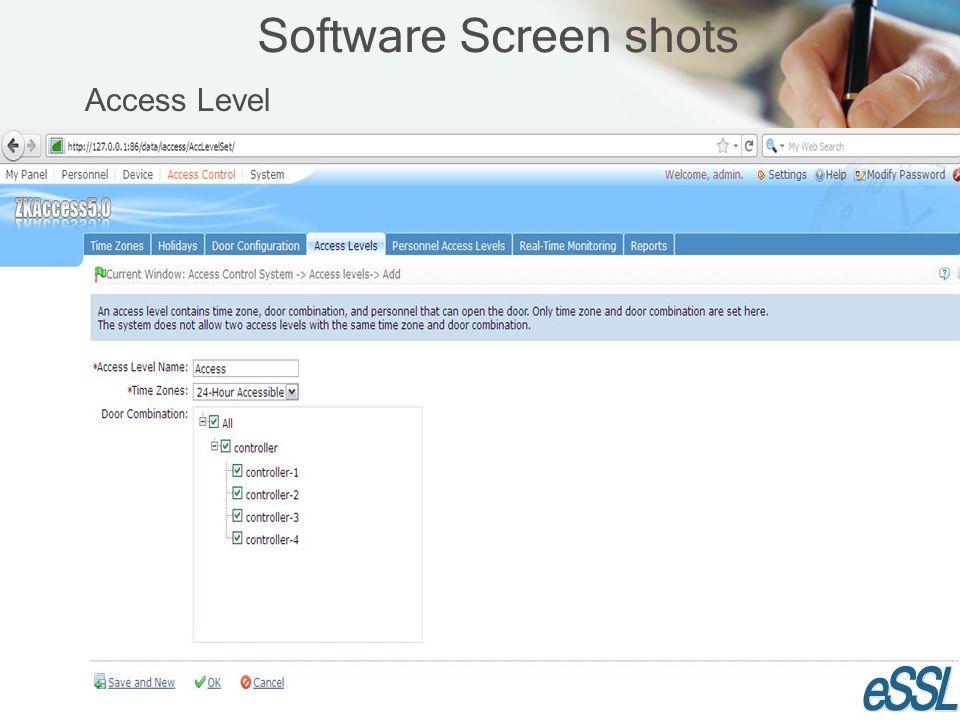 Software Screen shots Access Level