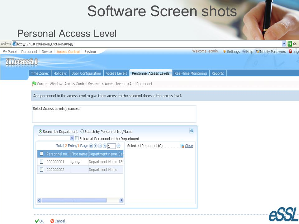 Software Screen shots Personal Access Level