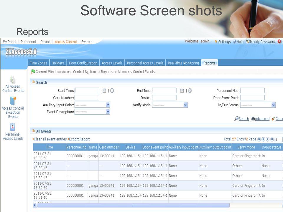 Software Screen shots Reports