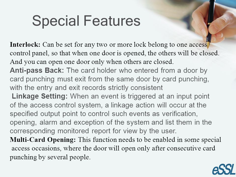 Interlock: Can be set for any two or more lock belong to one access
