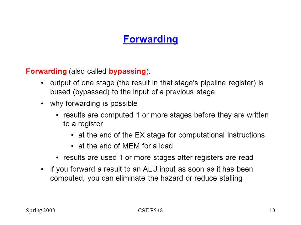 Forwarding Forwarding (also called bypassing):