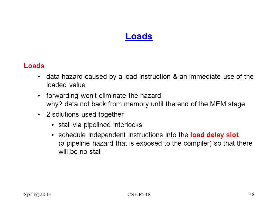 Loads Loads. data hazard caused by a load instruction & an immediate use of the loaded value.