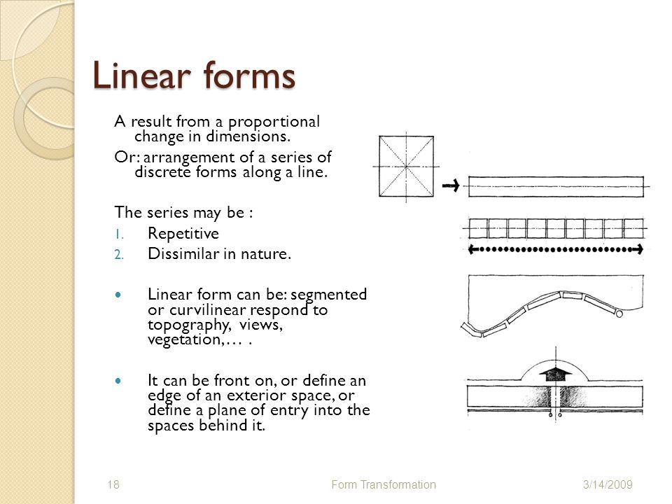 Linear forms A result from a proportional change in dimensions.