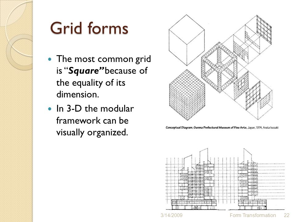 Grid forms The most common grid is Square because of the equality of its dimension. In 3-D the modular framework can be visually organized.