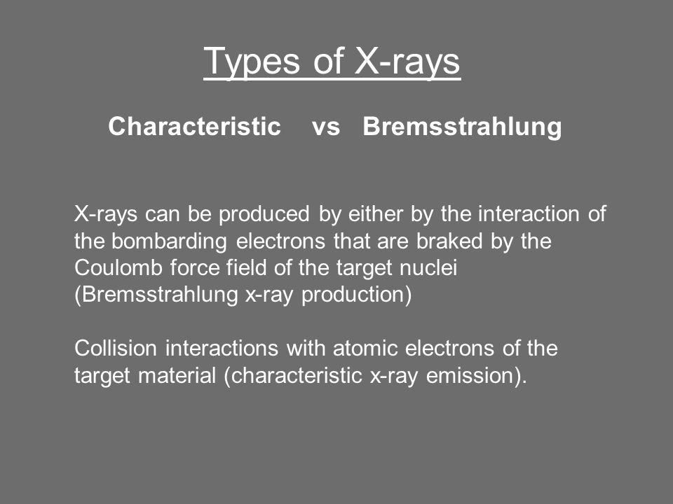 Types of X-rays Characteristic vs Bremsstrahlung