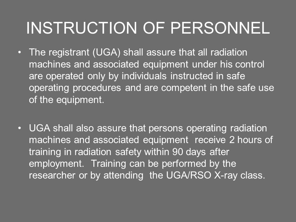 INSTRUCTION OF PERSONNEL