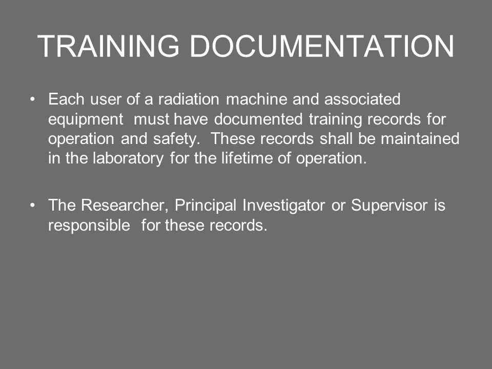 TRAINING DOCUMENTATION
