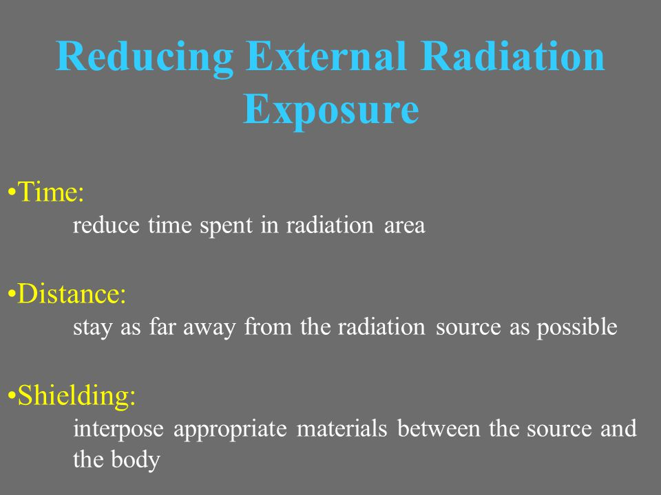 Reducing External Radiation Exposure