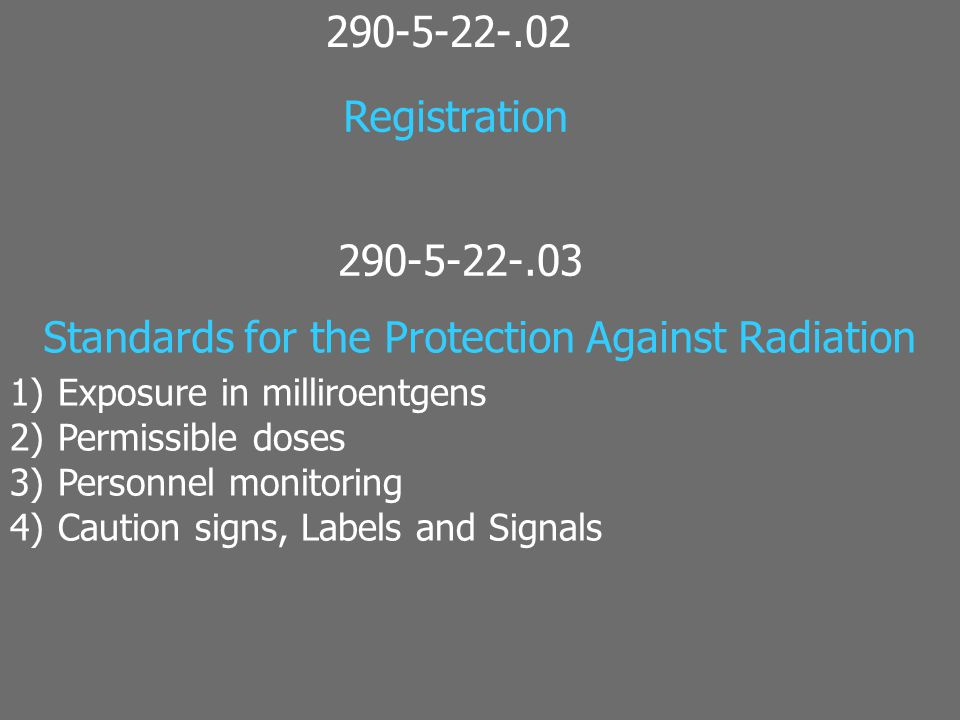 Standards for the Protection Against Radiation