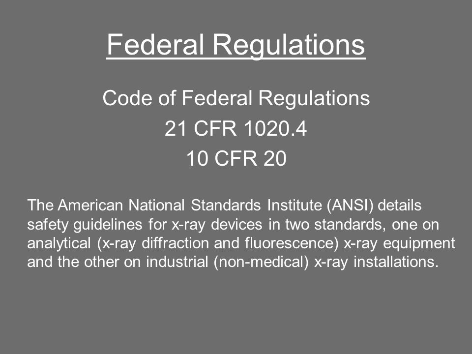 Code of Federal Regulations