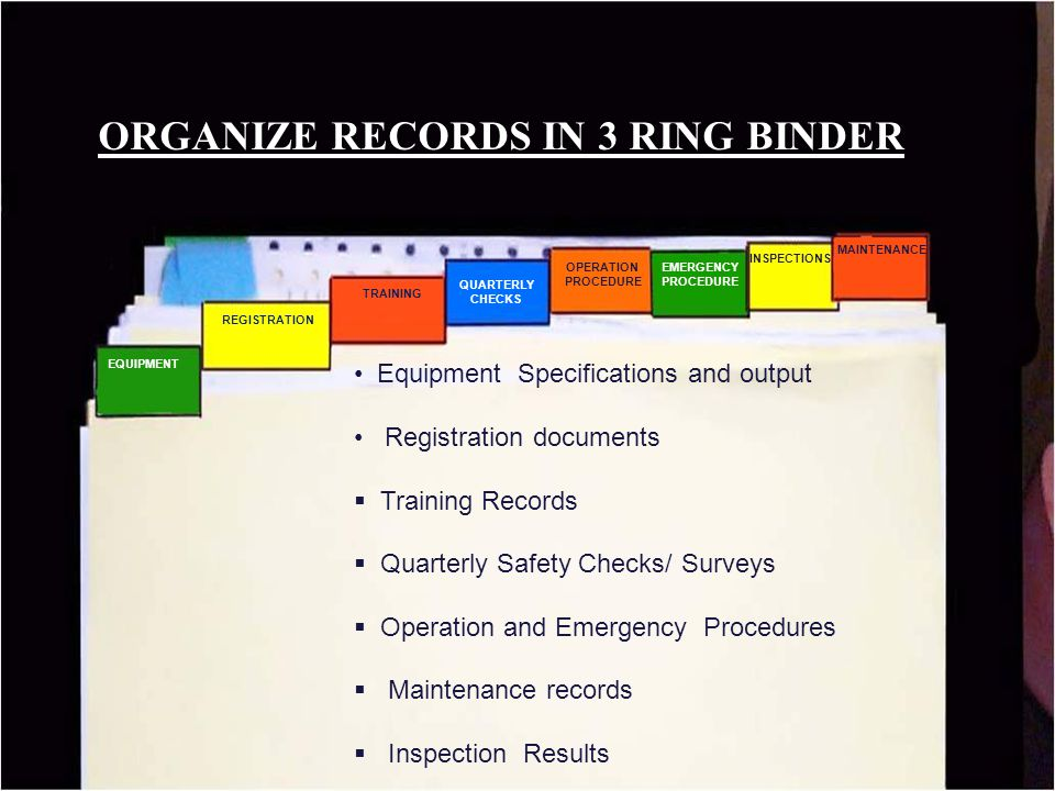 ORGANIZE RECORDS IN 3 RING BINDER