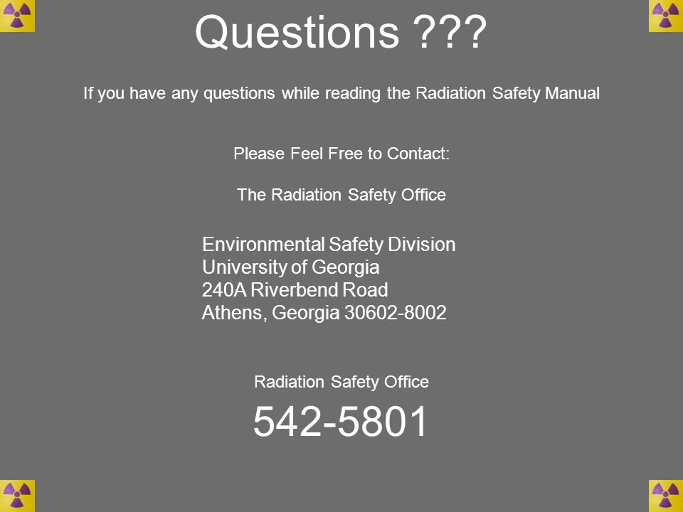 Questions 542-5801 Environmental Safety Division