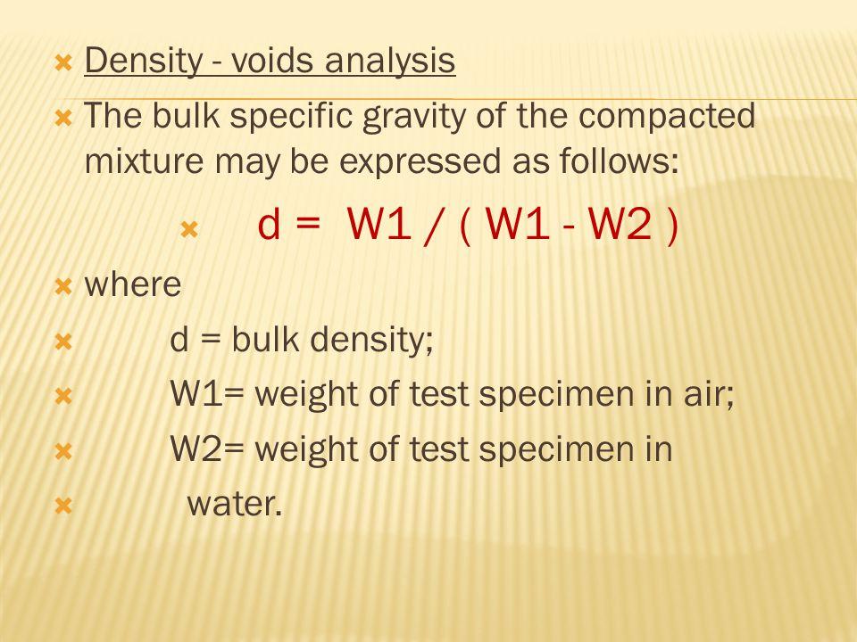 Density - voids analysis
