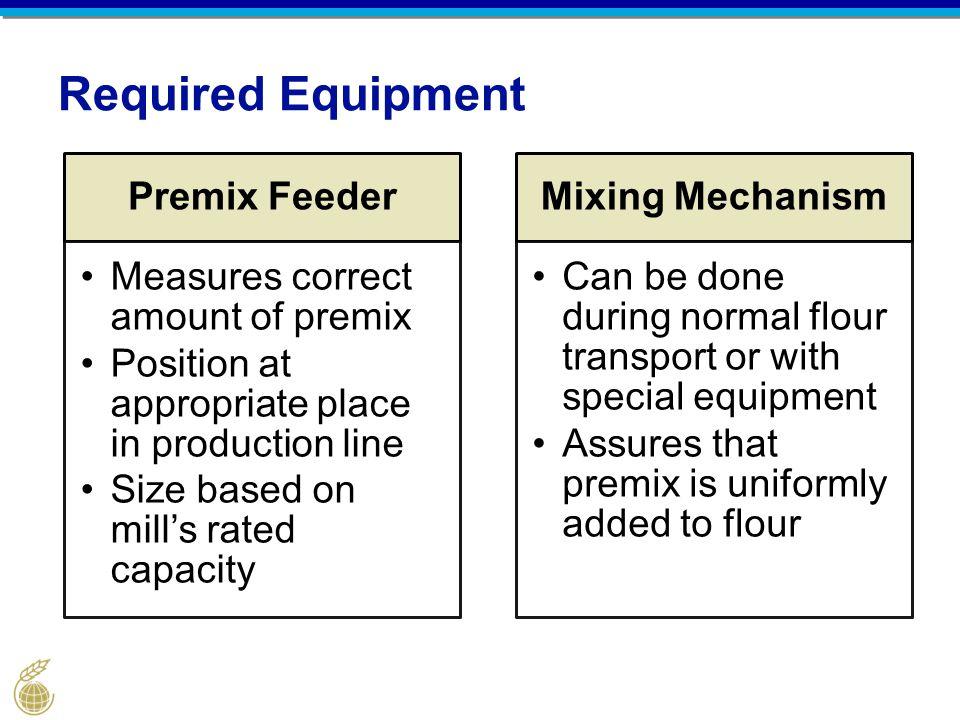 Required Equipment Premix Feeder Measures correct amount of premix