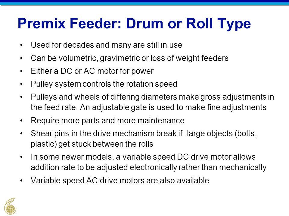 Premix Feeder: Drum or Roll Type