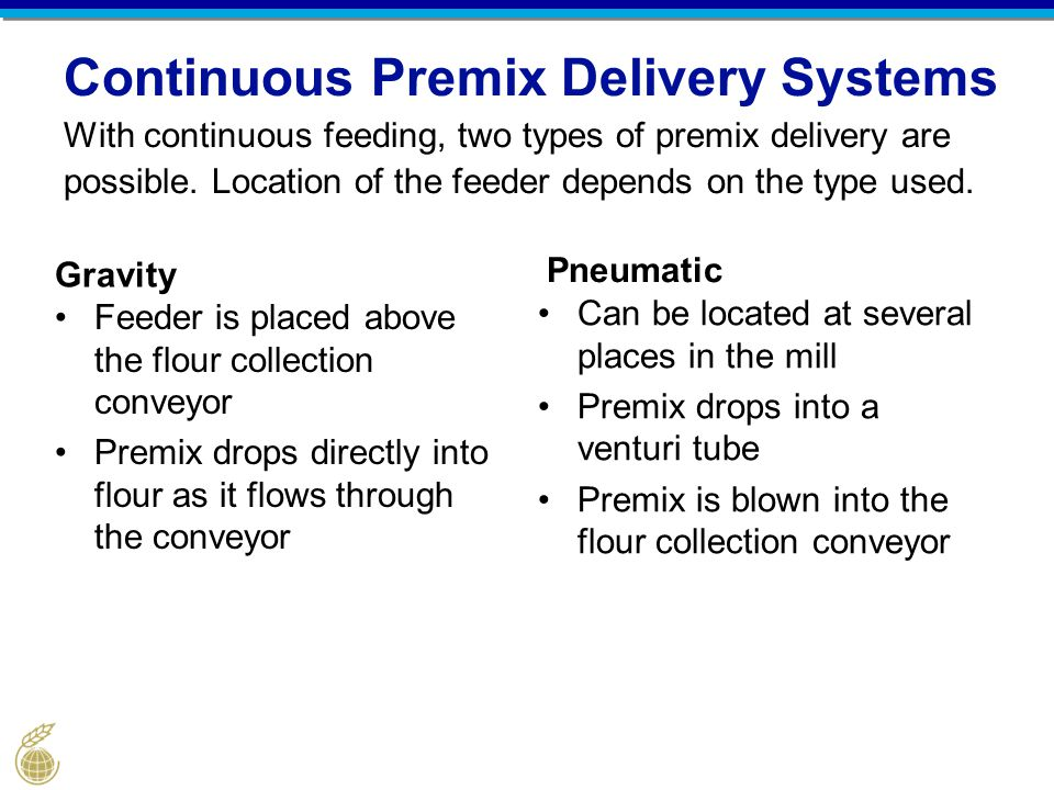 Continuous Premix Delivery Systems With continuous feeding, two types of premix delivery are possible. Location of the feeder depends on the type used.
