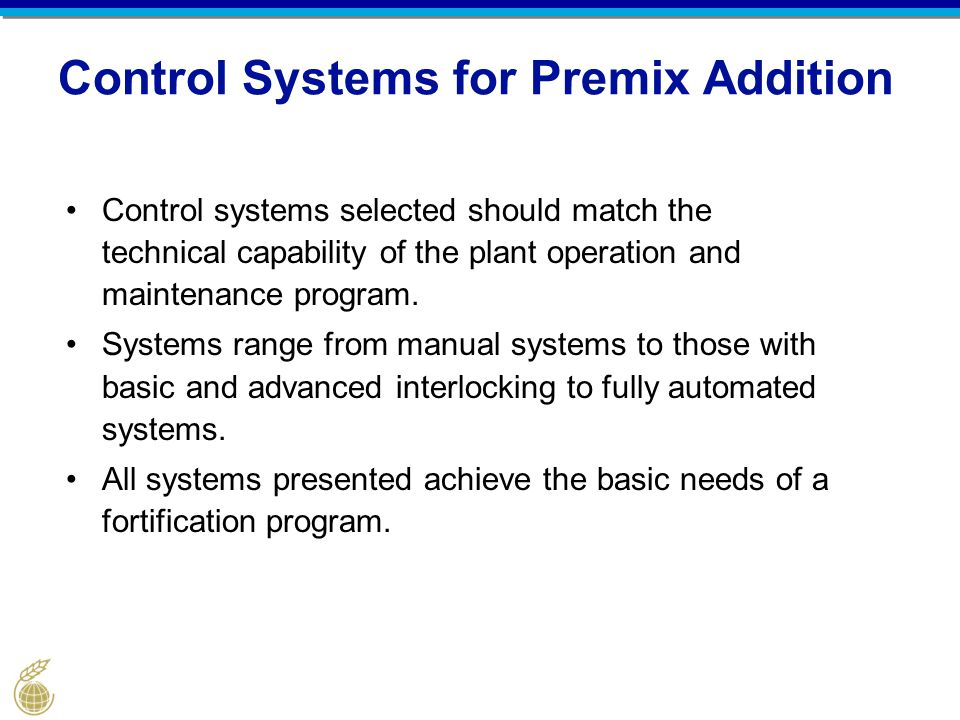 Control Systems for Premix Addition