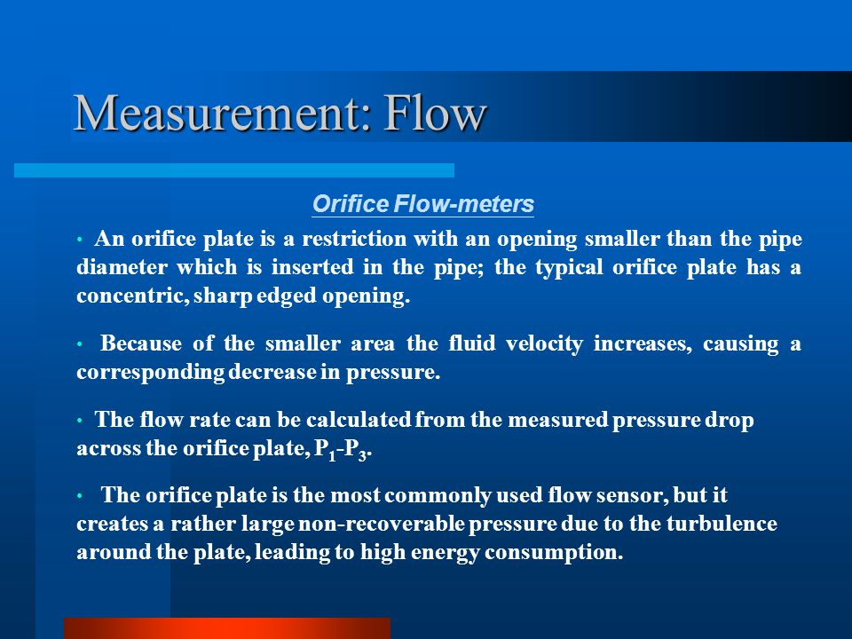 Measurement: Flow Orifice Flow-meters