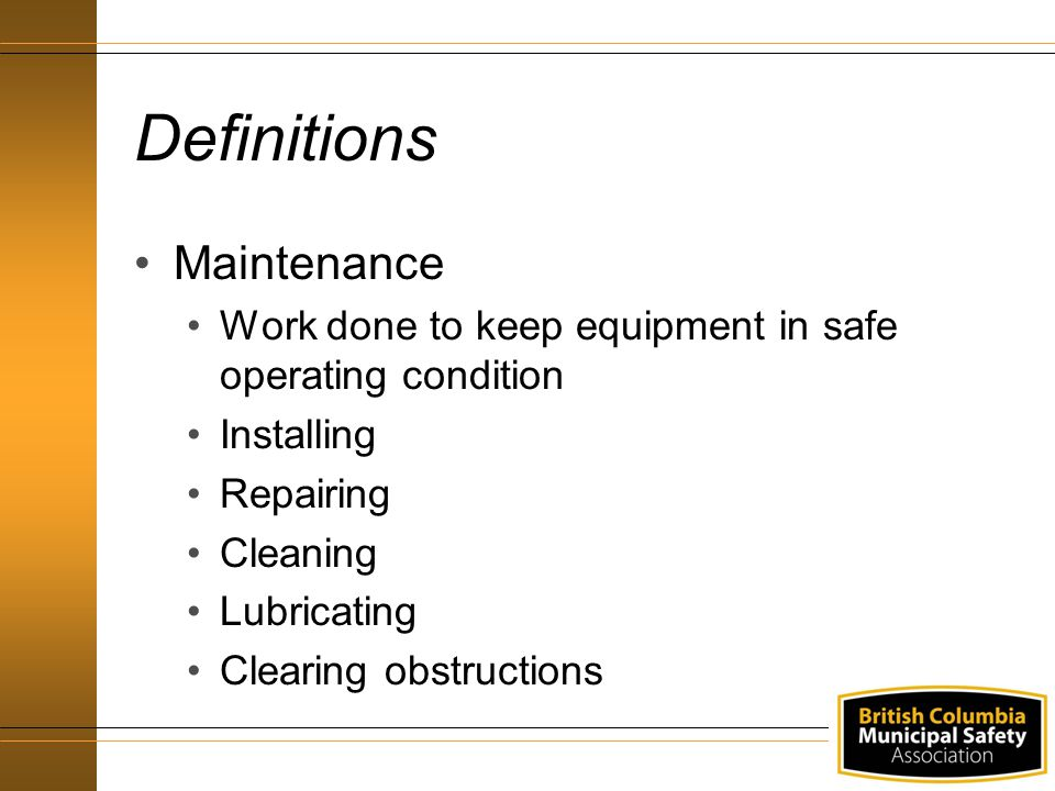 Definitions Maintenance