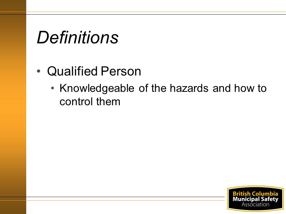 Definitions Qualified Person