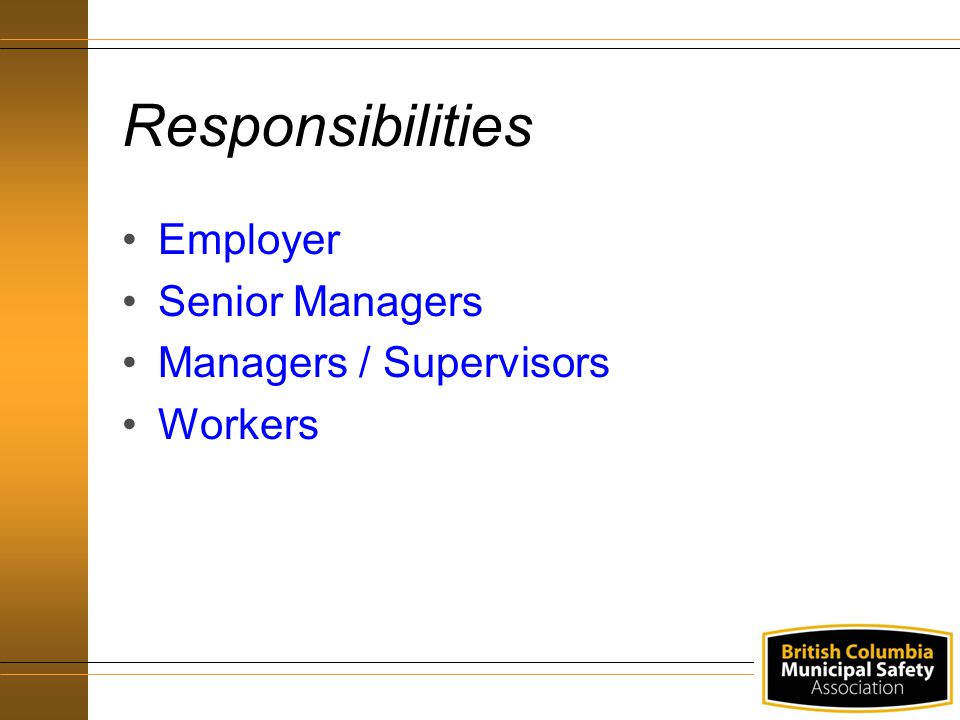 Responsibilities Employer Senior Managers Managers / Supervisors