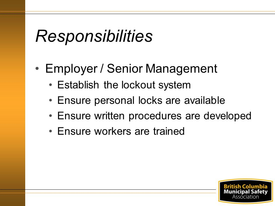 Responsibilities Employer / Senior Management