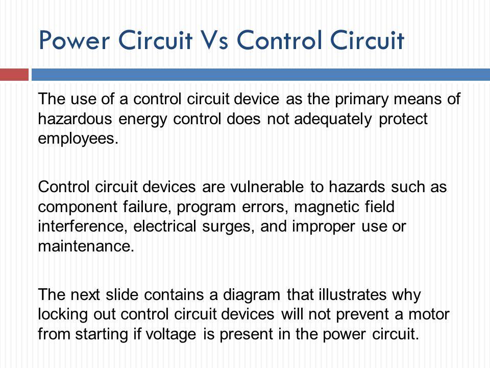 Power Circuit Vs Control Circuit