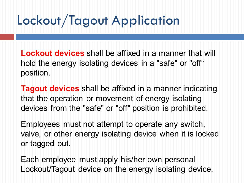 Lockout/Tagout Application