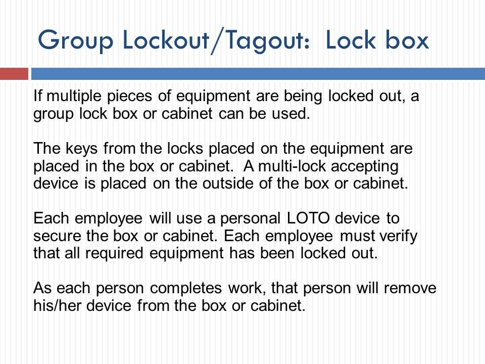 Group Lockout/Tagout: Lock box