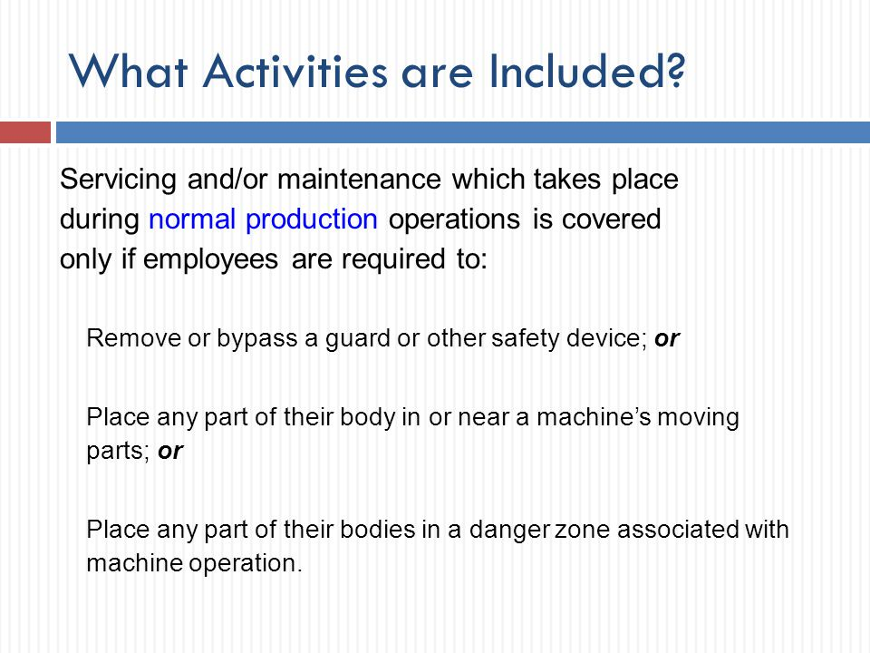 What Activities are Included
