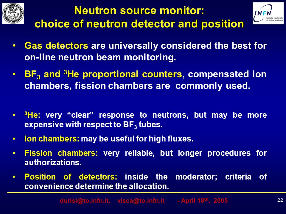 Neutron source monitor: choice of neutron detector and position