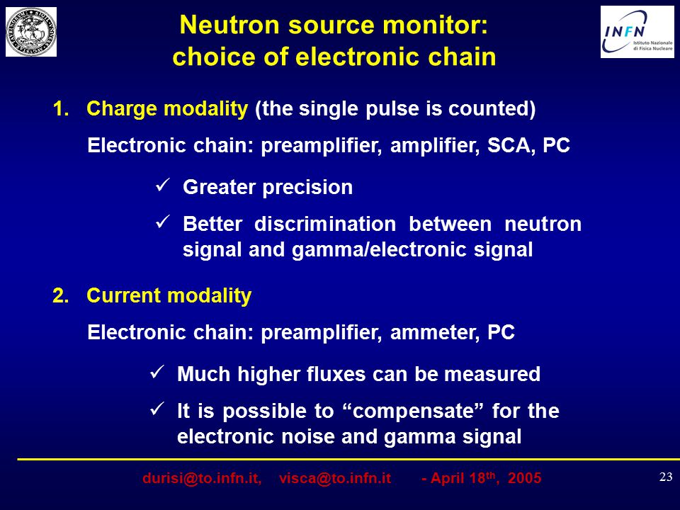 Neutron source monitor: choice of electronic chain