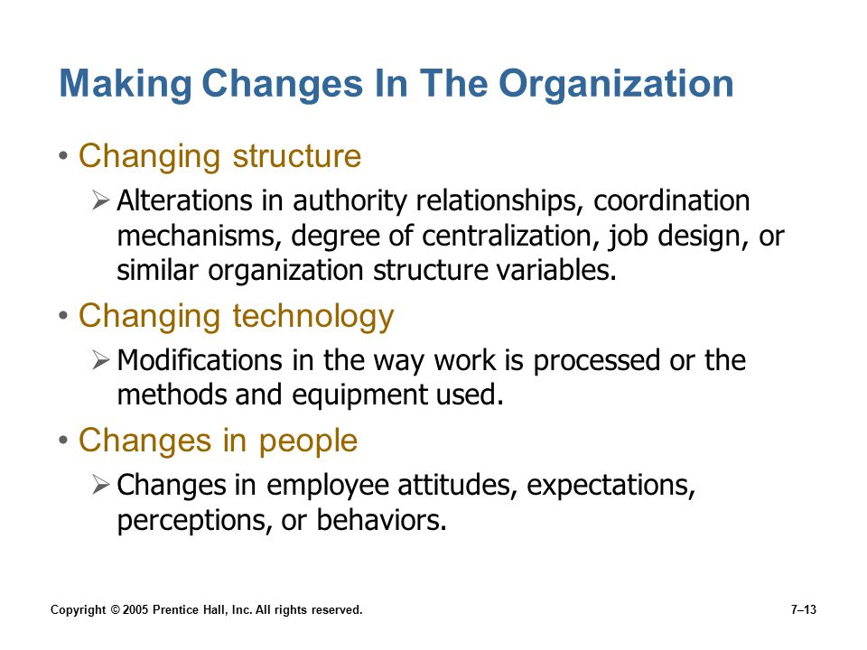 Making Changes In The Organization