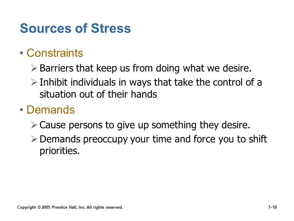 Sources of Stress Constraints Demands