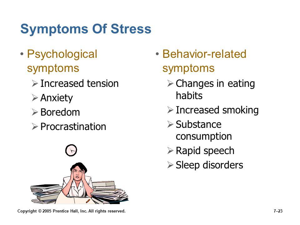 Symptoms Of Stress Psychological symptoms Behavior-related symptoms