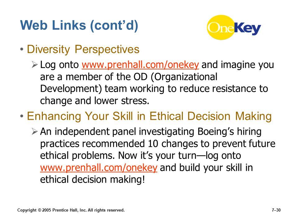 Web Links (cont'd) Diversity Perspectives